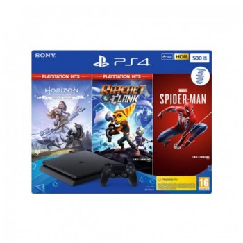Console Sony PS4 500Go Noire + Jeu Marvel's Spiderman + Jeu Horizon Zero Draw + Jeu Rachet & Clank