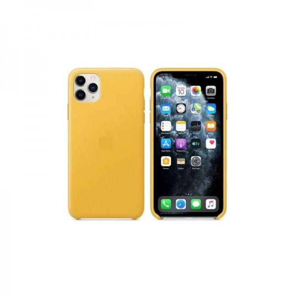 Étui en Cuir iPhone 11 pro max - Jaune prix tunisie