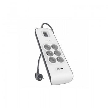 MULTIPRISE PARAFOUDRE BELKIN 6 PRISES AVEC 2 PORTS USB 2.4 A prix tunisie