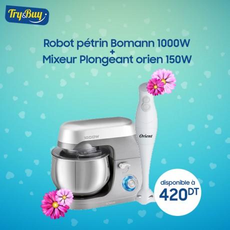 Robot Pétrin Bomann 1000W KM6009 Silver + Mixeur Plongeant ORIENT 170W OHB-0123-B Blanc