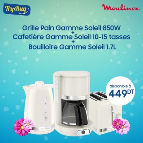 Grille Pain LT300A10 Gamme Soleil 850W + Bouilloire SOLEIL IVOIRE 1.7L BY320A10 + Cafetière FG381A10 Gamme Soleil 10-15 Tasses