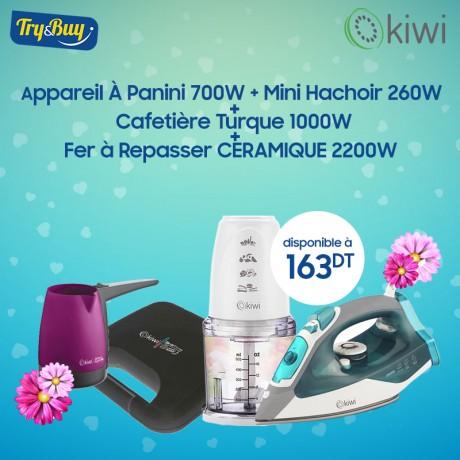 Appareil À Panini KSM-2405 700 Watts + Mini Hachoir KC 8208 260 W  + Cafetière Turque 1000W  + Fer à Repasser KSI-6319C 2200W