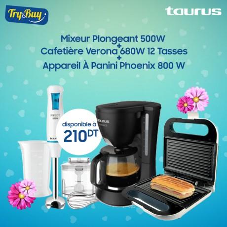Mixeur Plongeant TAURUS 500W + Cafetière Verona 680W 12 Tasses + Appareil À Panini Phoenix 800 W