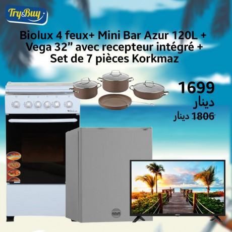 """Téléviseur VEGA 32"""" + récépteur intégré + Mini Bar 120L AZUR+ Cuisinière biolux 4feux + SET KORKAMZ 7 PIÈCES"""