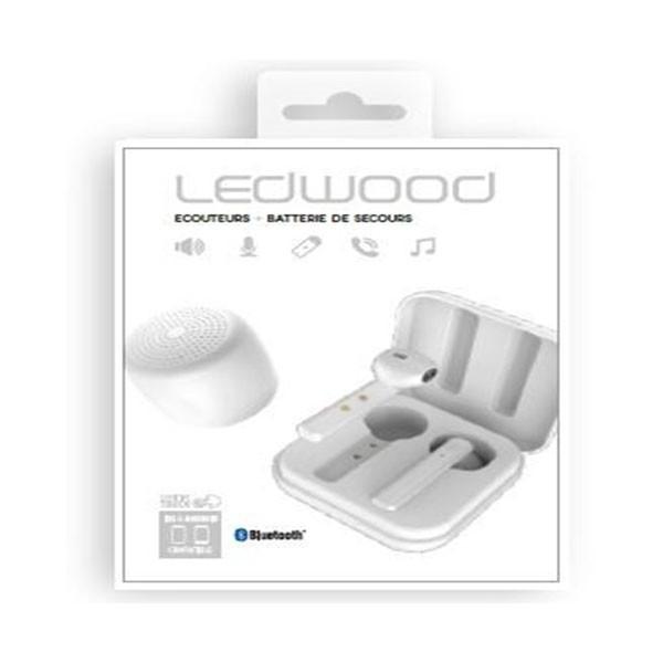 Écouteurs Sans Fil TWS Ledwood + Haut-Parleur  M1011 Blanc - 3700789507154 - prix tunisie