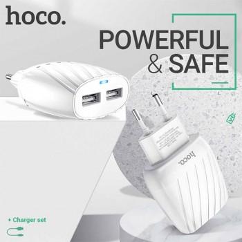 Chargeur Hoco C78A Type-c 2 Port USB 2.4A - prix tunisie