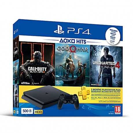 Playstation 4 Slim 500 Go + God of War + uncharted 4 + Call of Duty Black Ops III + 3 Mois Abonnement Playstation Plus